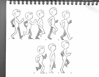 Animation Homework: Bounce, walk cycle, scribble bat