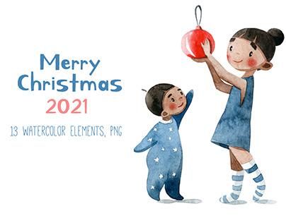 Merry Cristmas illustrations 2021