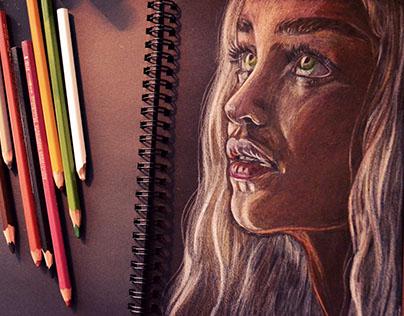 Portrait of Daenerys on black paper
