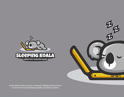 Cute Logo Sleeping Koala Mascot Vector Illustration