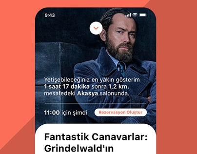 Sinema Bilgi ve Hızlı Bilet Uygulaması (iOS App Design)