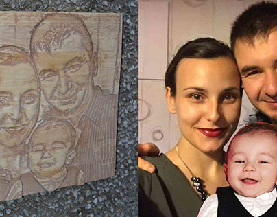 Wooden carved photos on Galin's frends