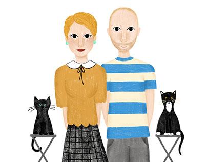 Digital Illustrated Family Portrait