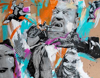 WWE Summerslam mixed media artwork