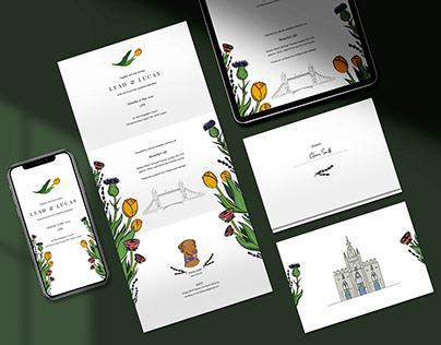 Wedding Invitation Design & Illustration: Leah & Lucas