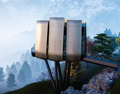 Futuristic Sustainable Mountain Pod by Ehab Alhariri