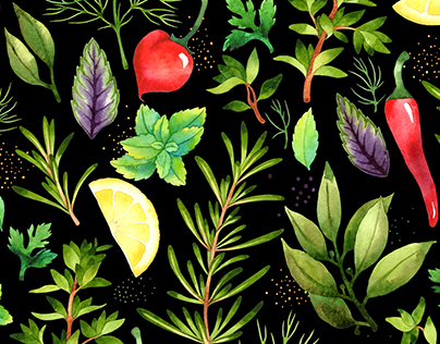 Watercolor patterns with vegetables and herbs