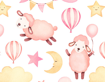 Cute sheep. Illustrations and patterns