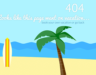 404 Page for a beach vacation rental website