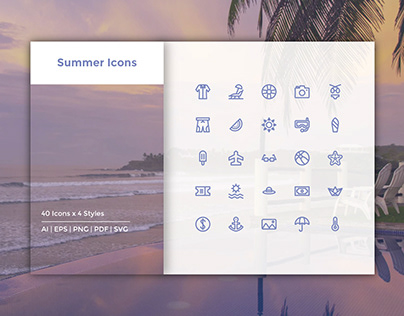 Summer Icons (Pixel Perfect)