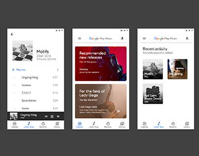 Google Play Music Redesign with Google's Material Theme