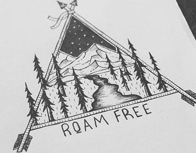 Roam Free Adventure Landscape Illustration