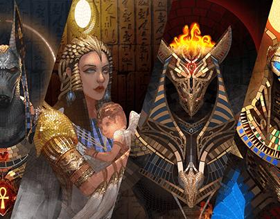 Mosaic Art: Egyptian Gods with Poker Cards