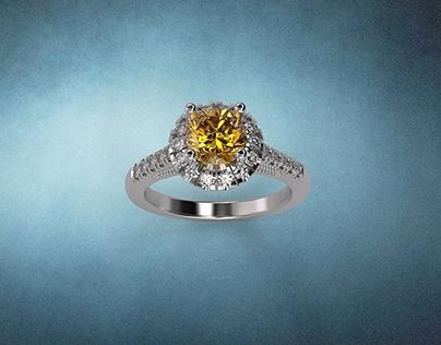 1Carat Round Yellow Sapphire Ring