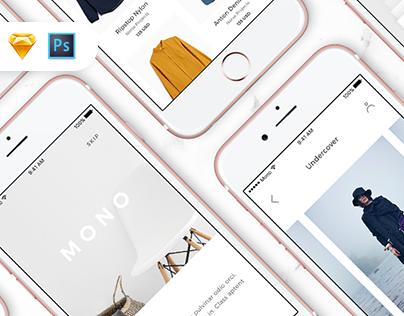 Mono iOS UI Kit / Free Samples Inside