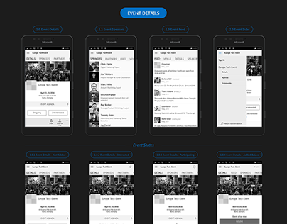 UX Wireframes for Events mobile app