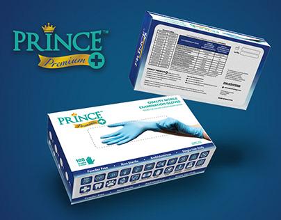 Prince Premium+ Nitrile Gloves Packaging Design
