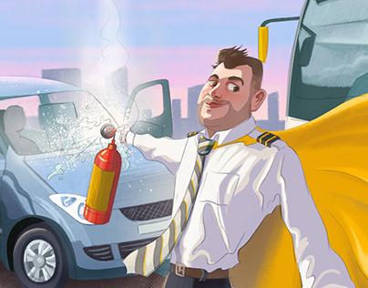 Everyday superheroes Editorial illustration