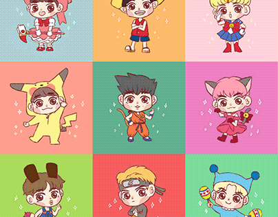 EXO (chibi anime version) - stickers project