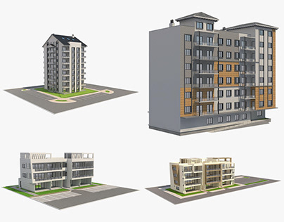 4 Apartment Buildings Set_1