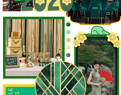 Emerald and Gold Mood board