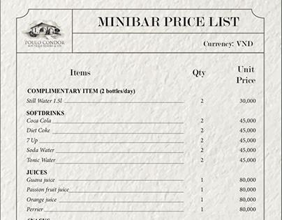 Poulo Condor Resort - Minibar price list