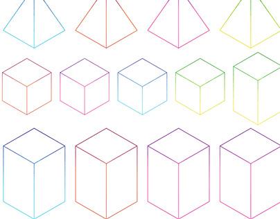 Isometric 3D Gradient Shape Frames Maths Clipart