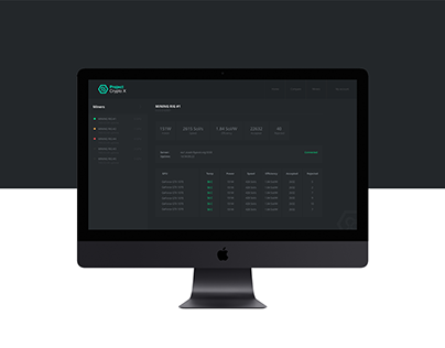 Project Crypto X - Dashboard design