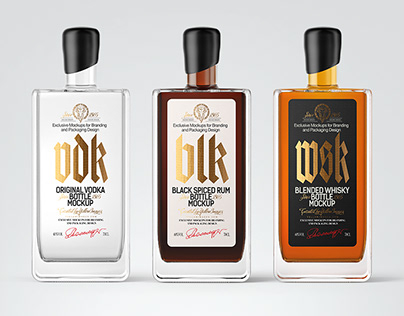 6 Spirits Bottles PSD Mockups
