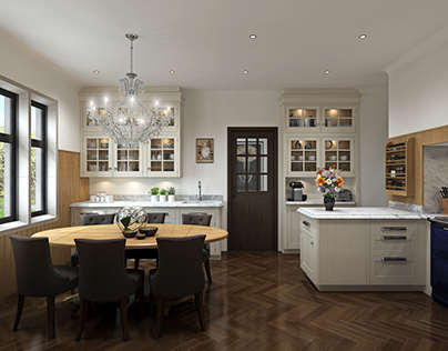 Traditional Kitchen, Lots of Glazed Units - CGI