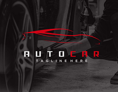 super car logo in simple red line graphic design