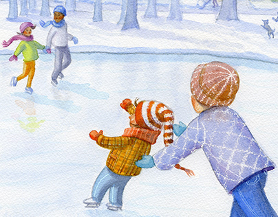 skating lesson, acrylic wash children's book WIP