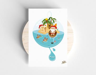 Merry Xmas in Summer|Illustration|Postercard