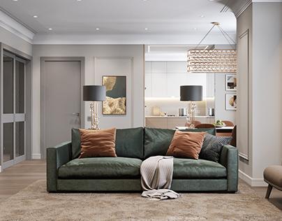 Modern 3-room apartment in St. Petersburg