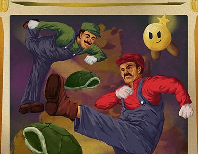 Vintage illustration-Mario&luigi