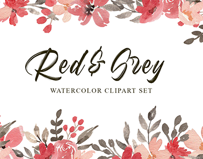 Red & Grey Flowers Watercolor Clipart Set