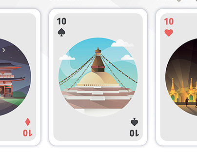 Playing cards - Landmark thematic illustrations