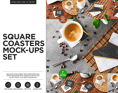 Square Coasters Mock-ups Set