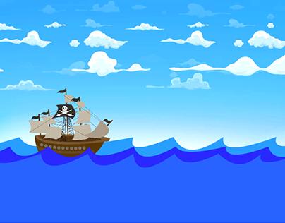 A pirate boat in the sea