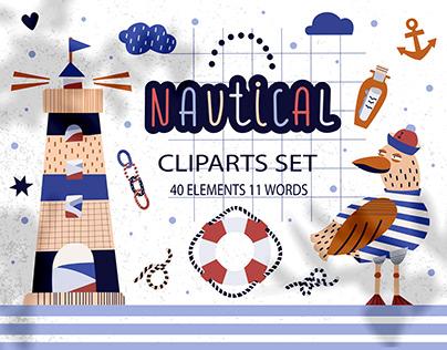 Nautical cliparts set