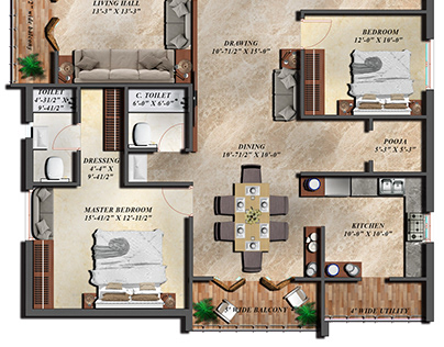4BHK Floor Plan render