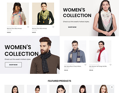 eCommerce Mockup Design for Men and Women Scarves