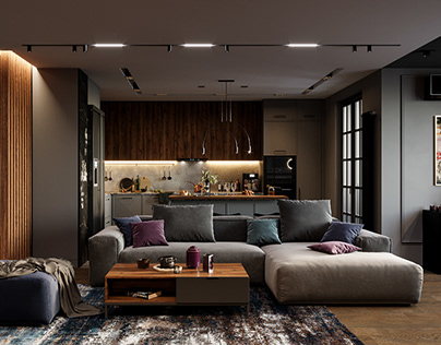 Visualisation of livingroom interior in Moscow, Russia