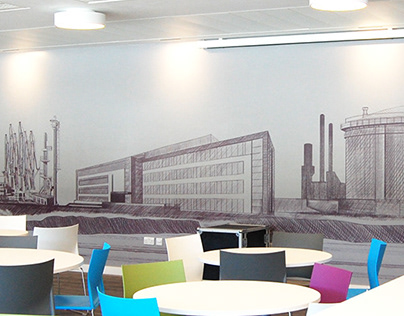 A hand-drawn mural for Ineos Grangemouth, 26m wide