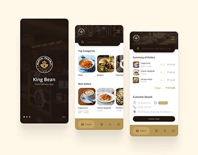 King Bean Cafe Delivery App Mock-up Design