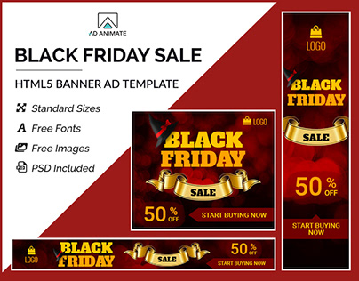 Black Friday Sale Banner- HTML5 Ad Templates