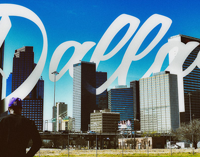 Panoramic Downtown Dallas 3D Typography