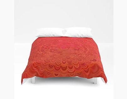 Fire Flower Mandala Duvet Cover