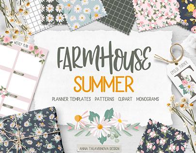 Farmhouse Summer patterns and illustration bundle