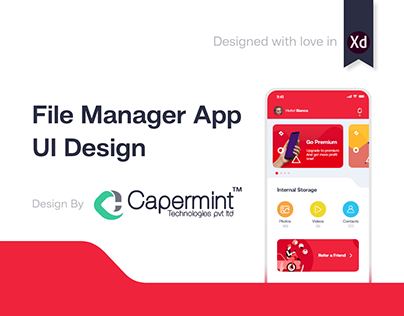 Creative app design for File Manager with cloud storage